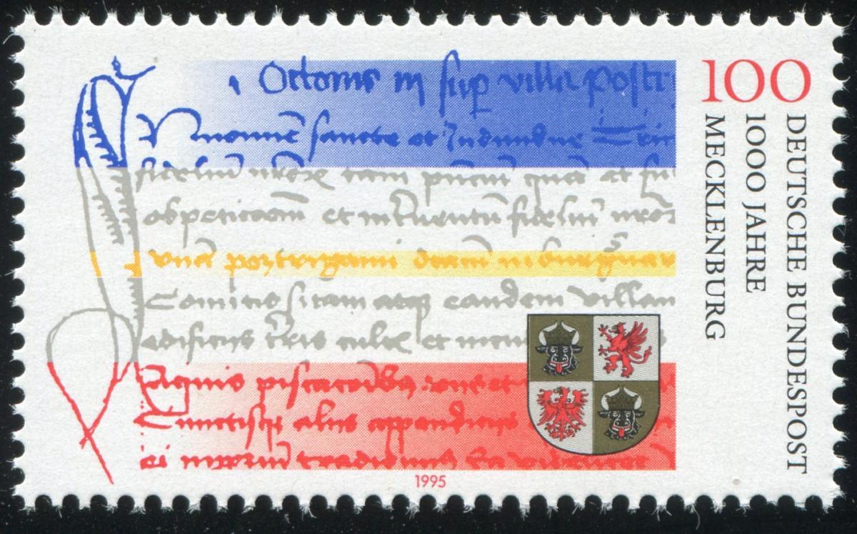 1782 Mecklenburg: roter Fleck neben dem Wappen unten rechts, Feld 10 ** 1