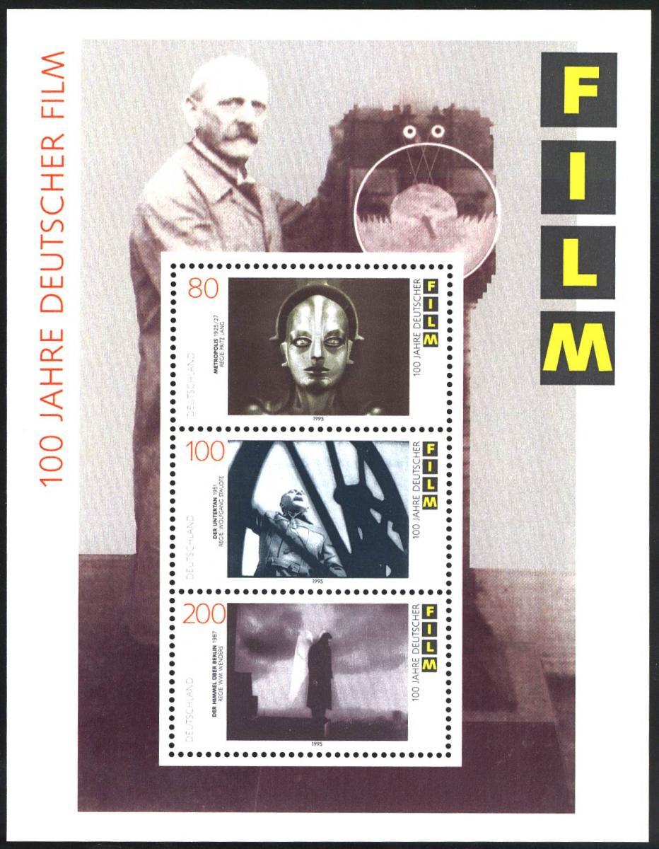 Block 33 Filmblock mit PLF 80-Pf-Wert schwarzer Bogen über dem R, ** 1