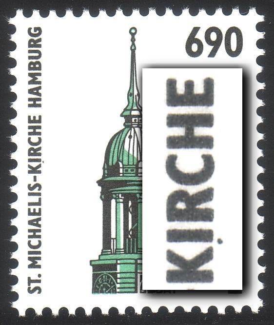 1860I SWK 690 Pf. mit PLF I schwarzer Punkt unter dem I von KIRCHE, Feld 3 ** 0