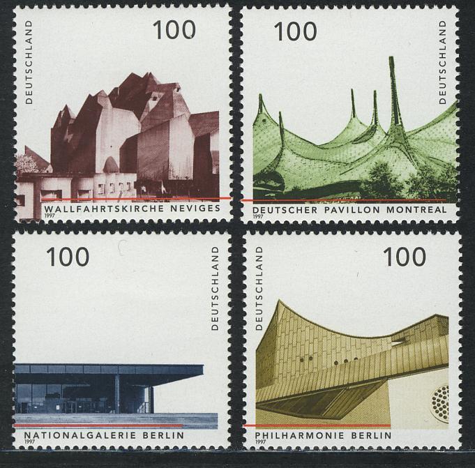 1906-1909 Einzelmarken aus Block 37 Architektur 1997, 4 Werte, Satz ** 0