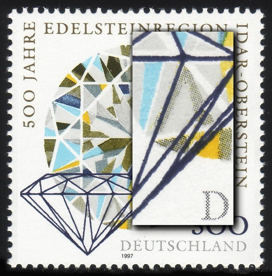 1911IV Edelsteinregion mit Retusche von PLF III: Strich am Prisma, Feld 7 ** 0