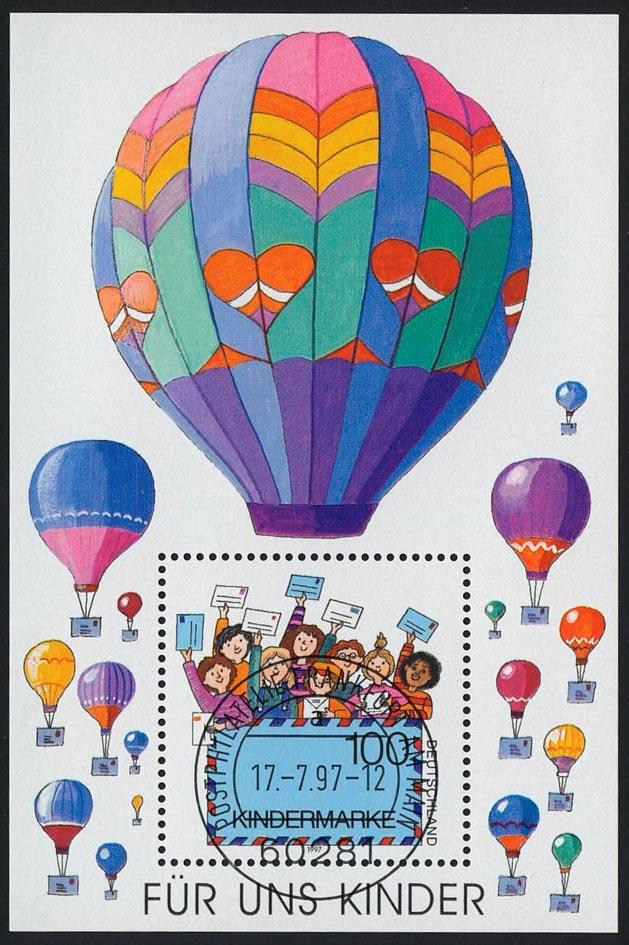 Block 40 Für uns Kinder - Luftpost 1997 mit VS-O Frankfurt/Main 0
