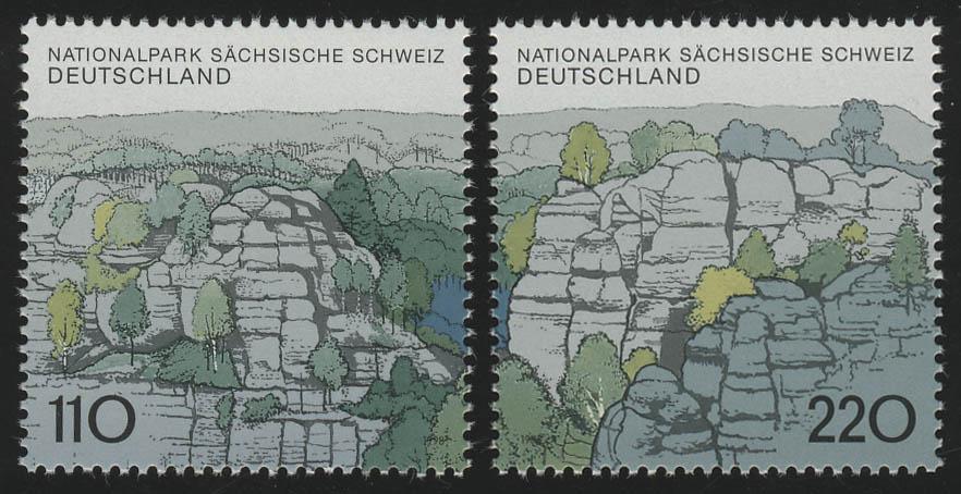1997-1998 Einzelmarken aus Block 44 Sächsische Schweiz, 2 Werte, Satz ** 0