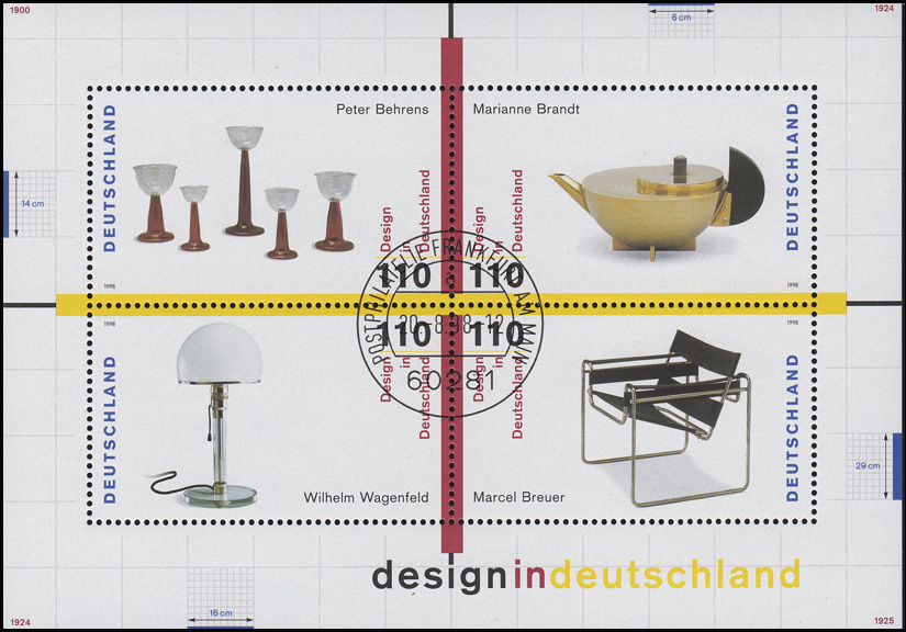 Block 45 Design in Deutschland 1998, Versandstellen-Stempel Frankfurt/Main 0