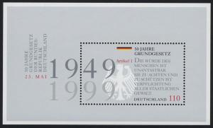 Block 48 Jubiläum 50 Jahre Grundgesetz 1999, postfrisch