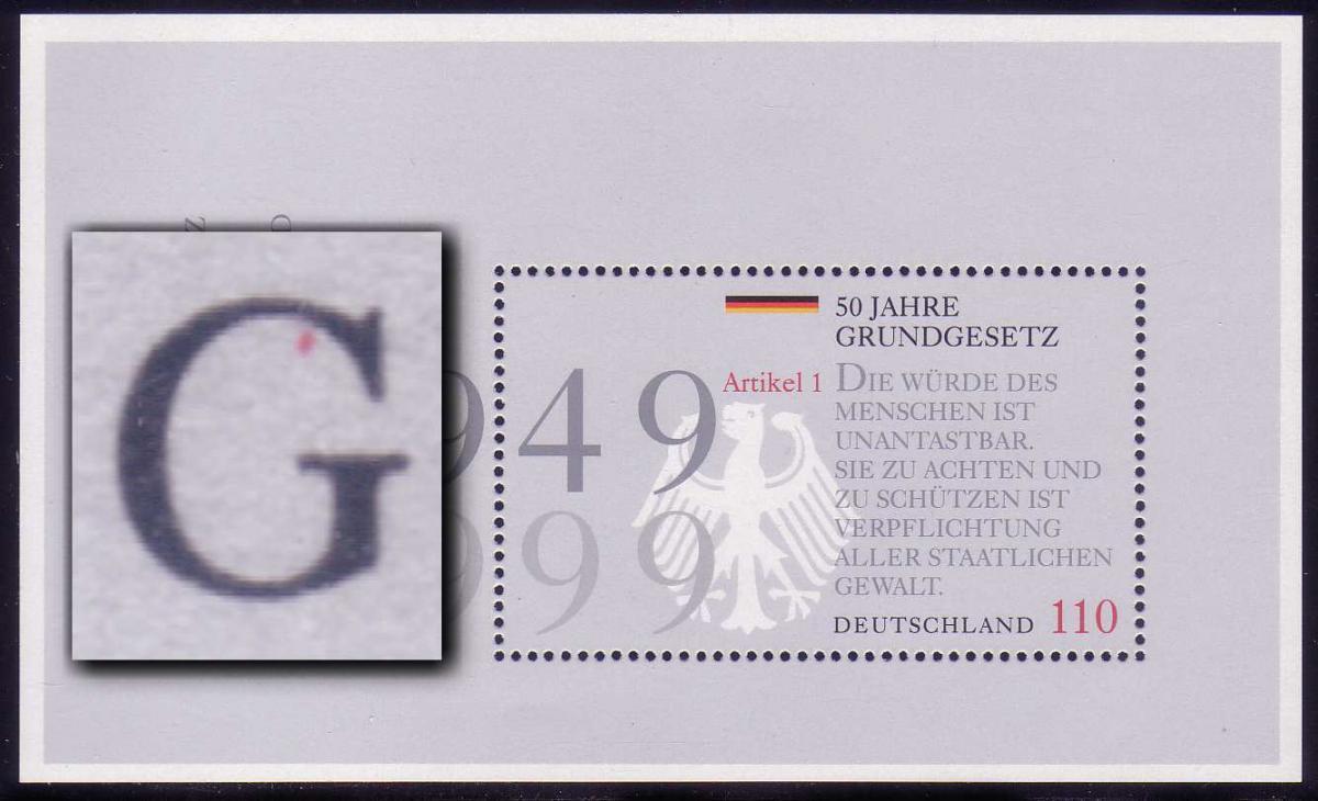 Block 48 Grundgesetz 1999 mit PLF roter Fleck im ersten G von GRUNDGESETZ ** 0