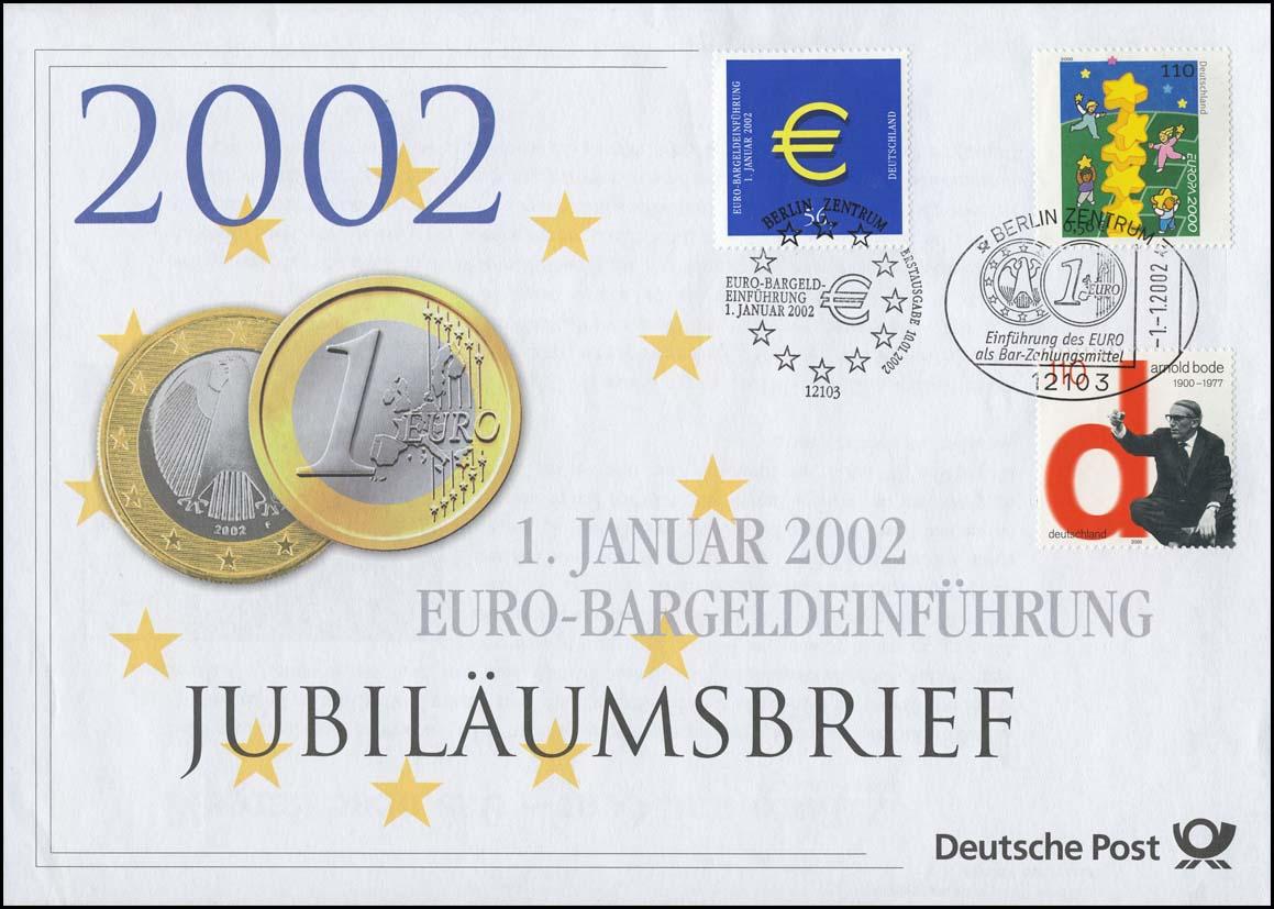 2113+2155+2234 Euro-Einführung 2002 - Jubiläumsbrief mit ESST 1.1.2002 0