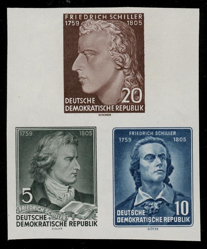 464-466B XI Einzelmarken aus Block 12 Schiller, Satz ** 0