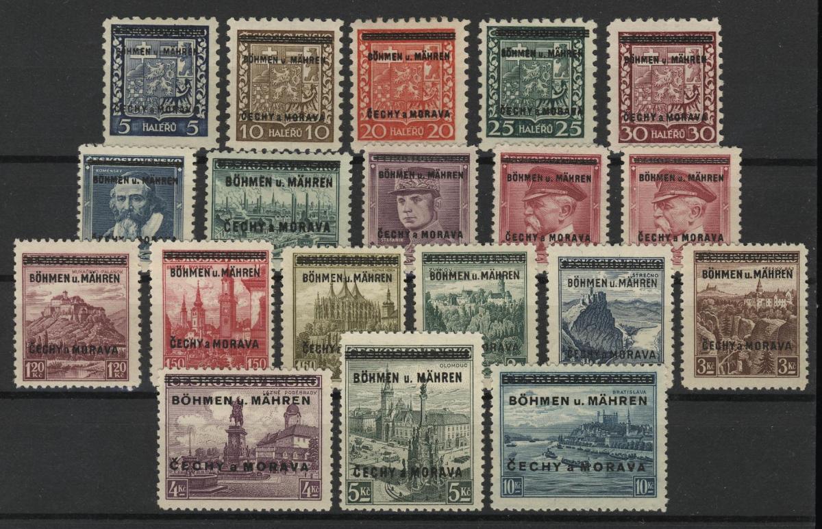 Böhmen und Mähren 1-19 Tschechoslowakei mit Aufdruck, Satz 19 Werte, ** 0
