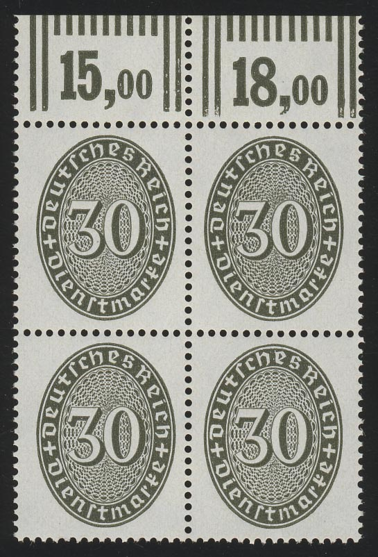 120X Strohhut 30 Pf Oberrand-Vbl. Walzendruck 292 ** 0