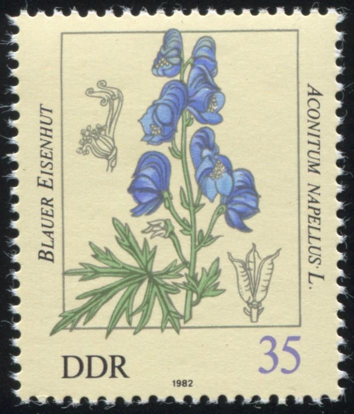 2695 Giftpflanzen 35 Pf: schwarzer Punkt neben dem S von NAPELLUS, Feld 22, ** 1