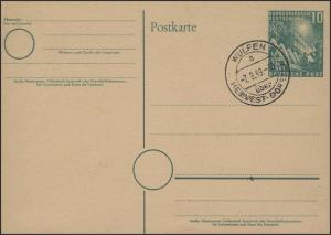 PSo 1 Bundestag 10 Pf mit Ersttagsstempel Wulfen 7.9.49