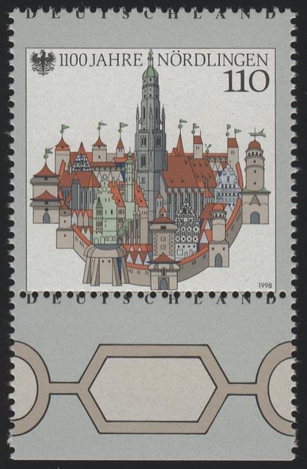 1965 Nördlingen - Verzähnung durch Deutschland, Unterrandstück, ** 0