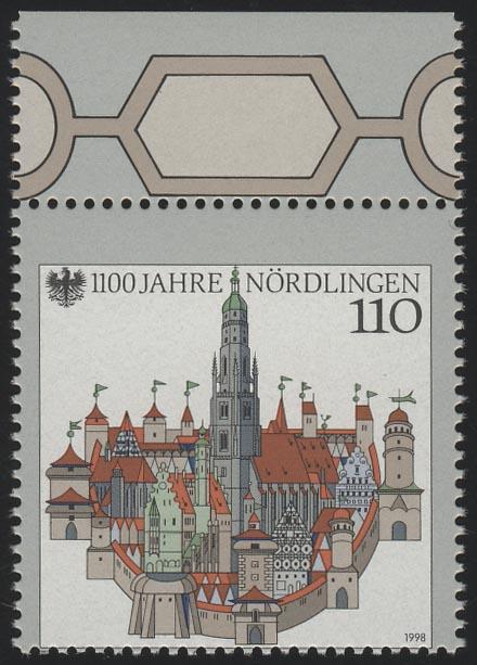 1965 Nördlingen mit markanter Verzähnung (ohne Deutschland), Oberrandstück, ** 0