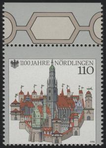 1965 Nördlingen mit markanter Verzähnung (ohne Deutschland), Oberrandstück, **