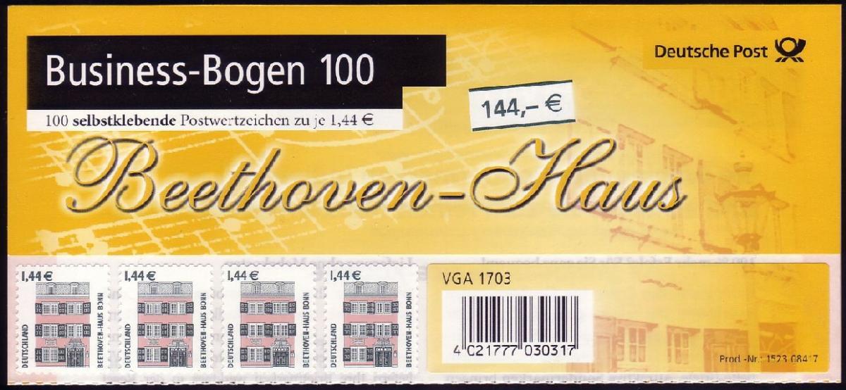 BB1a 2348 SWK 1,44 Euro selbstklebend kompletter Business-Bogen zu 100 Marken ** 0