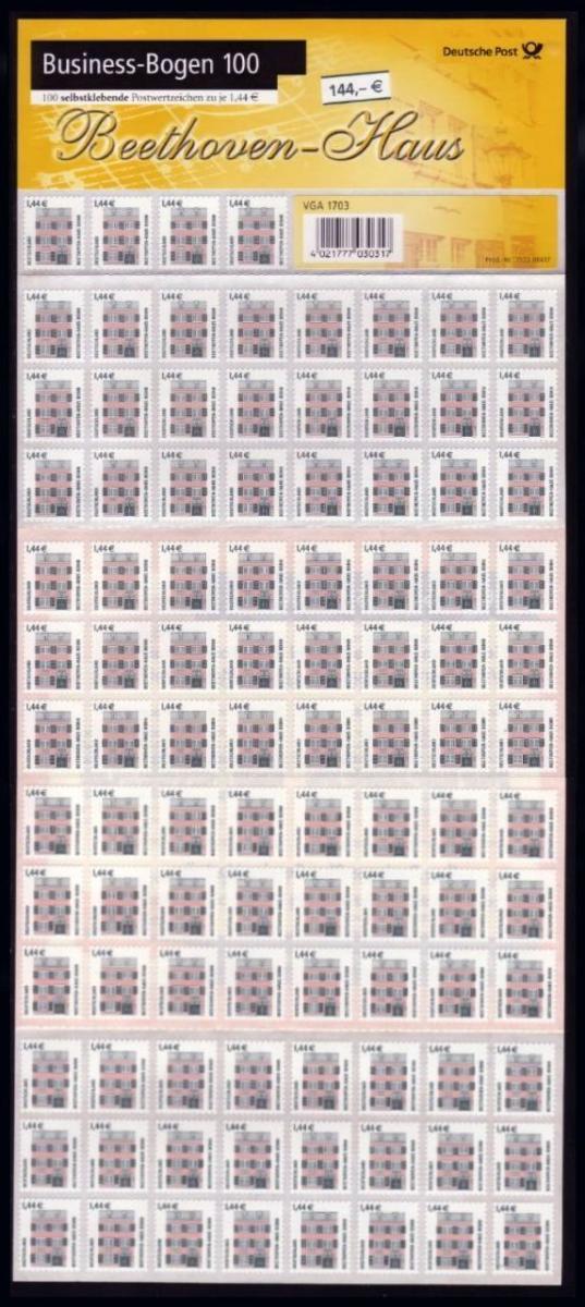 BB1a 2348 SWK 1,44 Euro selbstklebend kompletter Business-Bogen zu 100 Marken ** 1
