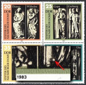 2808-2811 Naumburger Dom-Viererblock mit PLF 2809I heller Fleck, Feld 4, **