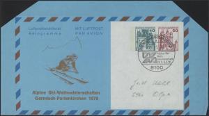 Aerogramm 40+50 BuS Ski-WM Garmisch-Partenkirchen SSt