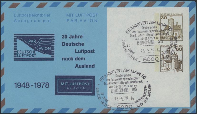 Aerogramm 30+60 Pf BuS Deutsche Luftpost  SSt Frankfurt 0