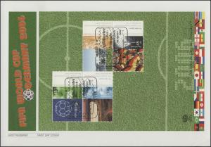 Block 67 Fußball-Weltmeisterschaft Deutschland 2006 auf FDC ESSt Bonn 04.05.2006