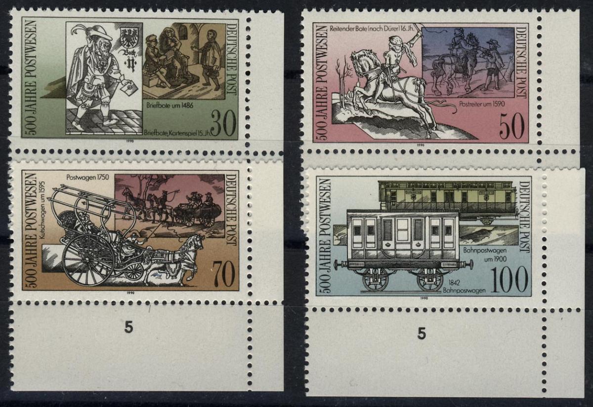 3354-57 500 Jahre Post 1990, Ecke u.r., Satz ** 0