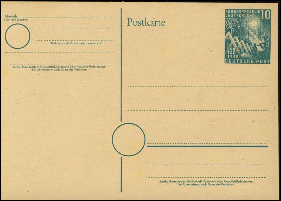 PSo 1 Bundestag 10 Pf. 1949, postfrisch 0