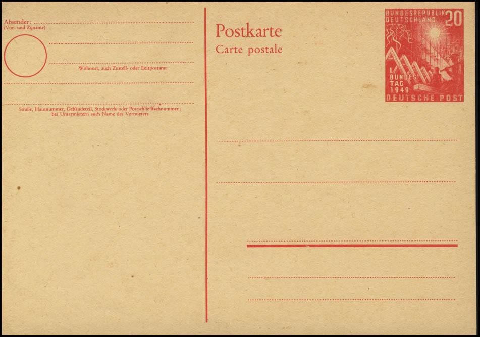 PSo 2 Bundestag 20 Pf. 1949, postfrisch 0