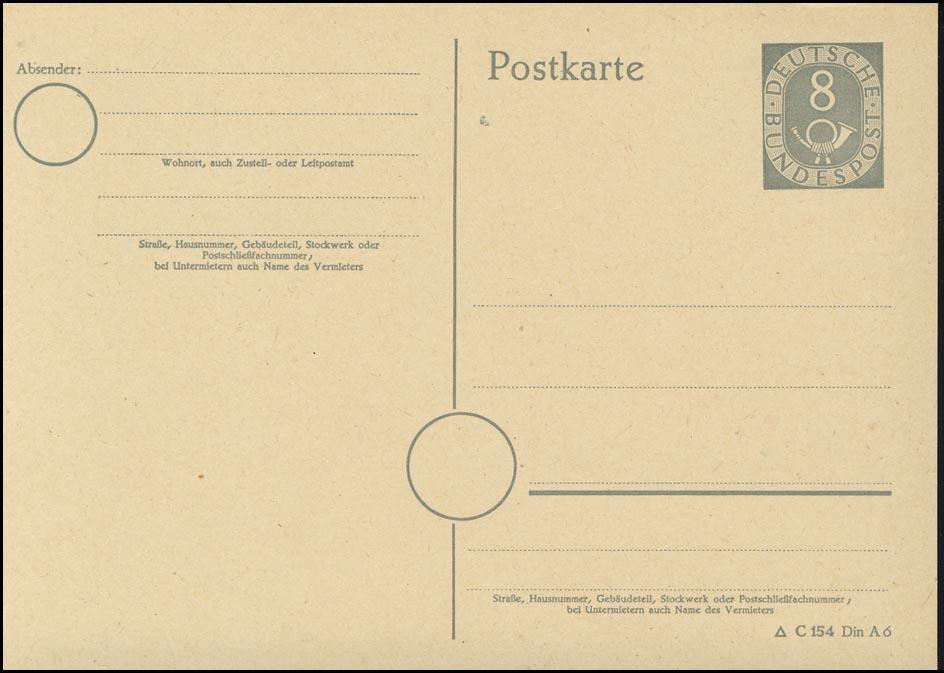 P 11I Posthorn 8 Pf mit Druckvermerk ** wie verausgabt 0