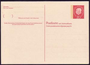 P 47 Heuss II 20/20 Pf, Postkarte unter Wertstempel, **
