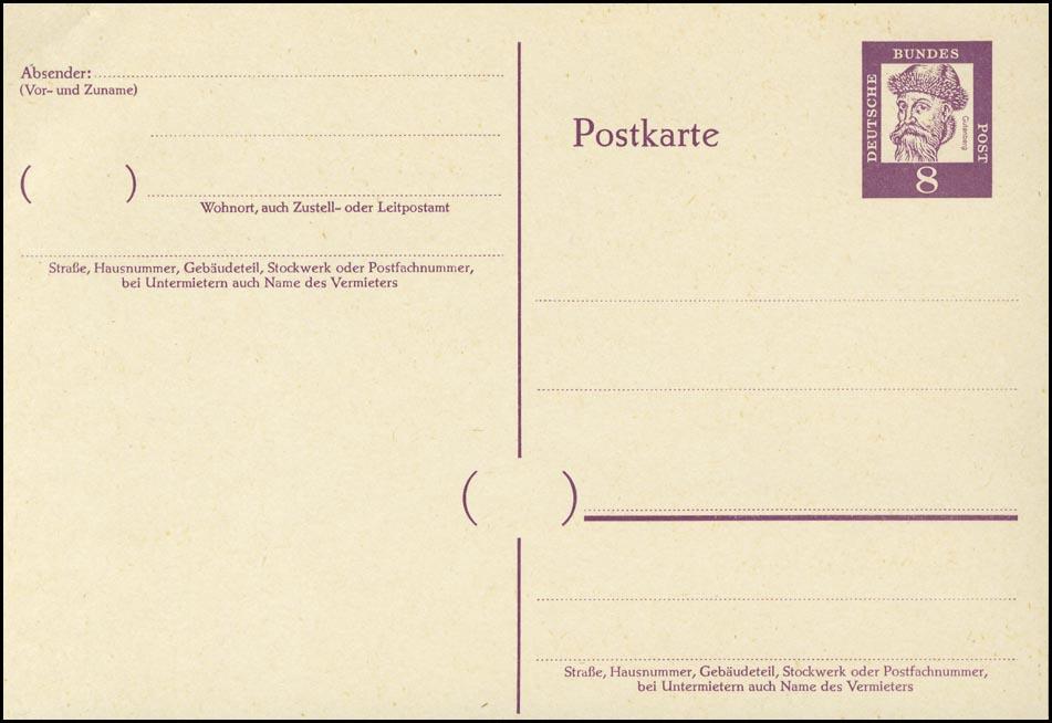 P 59 Gutenberg 8 Pf Antiqua, ohne Beidruck ** wie verausgabt 0