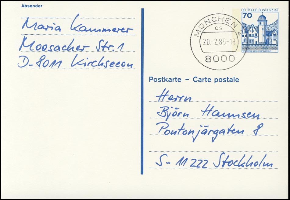 P 136 II BuS 70 Pf Letterset gedruckte Adresse und Absender, MÜNCHEN 0