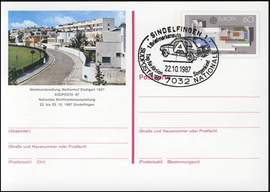 PSo 14 SÜDPOSTA Sindelfingen 1987, ESSt Aktion Sorgenkind 22.10.87 0