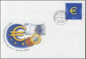 USo 33/01 Euro 2002, 35x36 mm, VS-O Frankfurt 10.1.2002