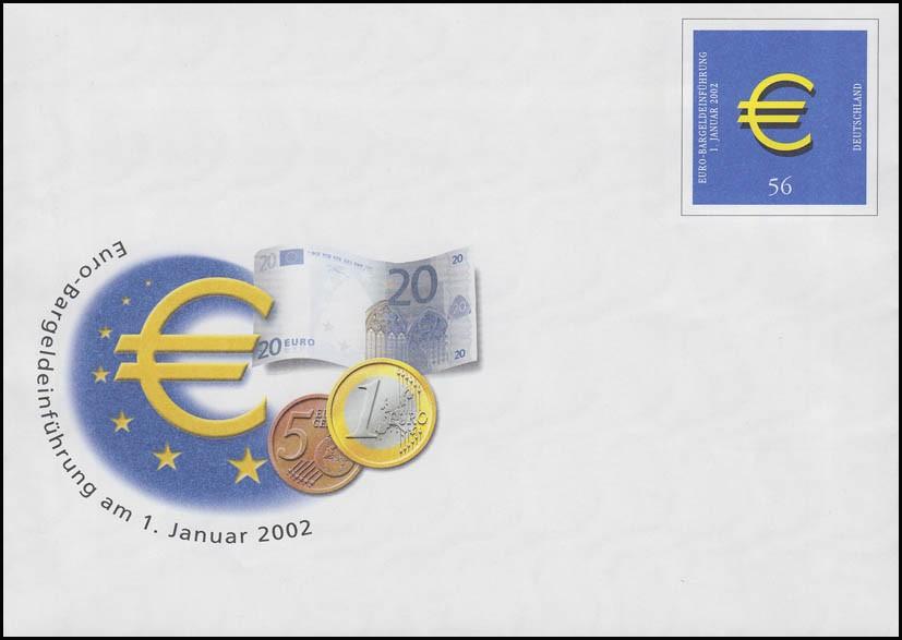 USo 33/01 Euro 2002, 35x36 mm, Ecken groß eckig, seltene Teilauflage, ** 0