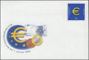 USo 33/02 Euro 2002, innen große Wertstempel-Aussparung, seltene Teilauflage, **