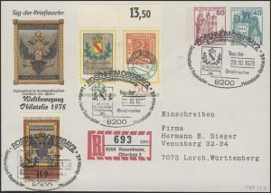 Umschlag 50+40 Pf BuS Rosenheim + Zufr. SSt 29.10.78