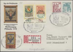 Umschlag 50+40 Pf BuS Rosenheim + Zufr. pass. SSt T.d.B