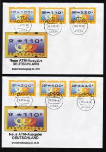 3.1 Posthörner DBP - VS-Satz 6 ATM 100-440 Pf auf FDC 16.12.1999
