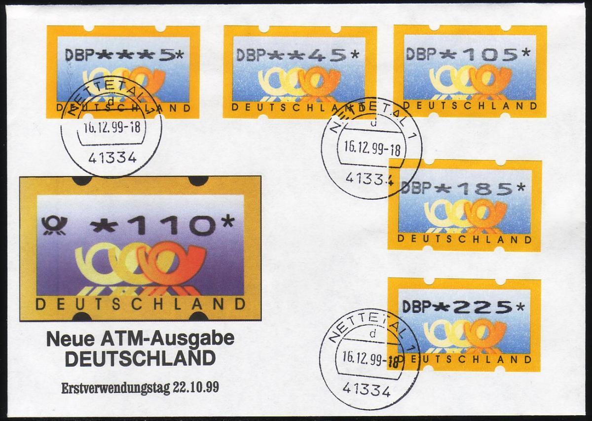 3.1 Posthörner DBP - VS-Satz 5 ATM 5-225 Pf auf FDC 16.12.1999 0