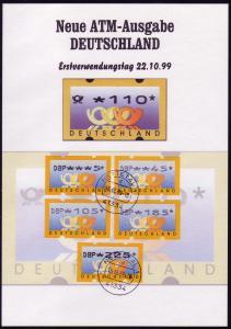 3.1 Posthörner DBP - VS-Satz 5 ATM 5-225 Pf. auf ETB mit Frühdatum 16.12.99