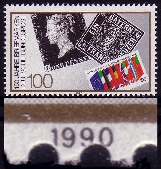 1479 Briefmarke, Verzähnung durch die Jahreszahl 1990, ** postfrisch 0