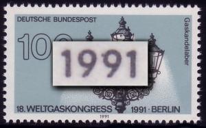 1538 Weltgaskongreß 100 Pf, PLF: Strich an der 9, **