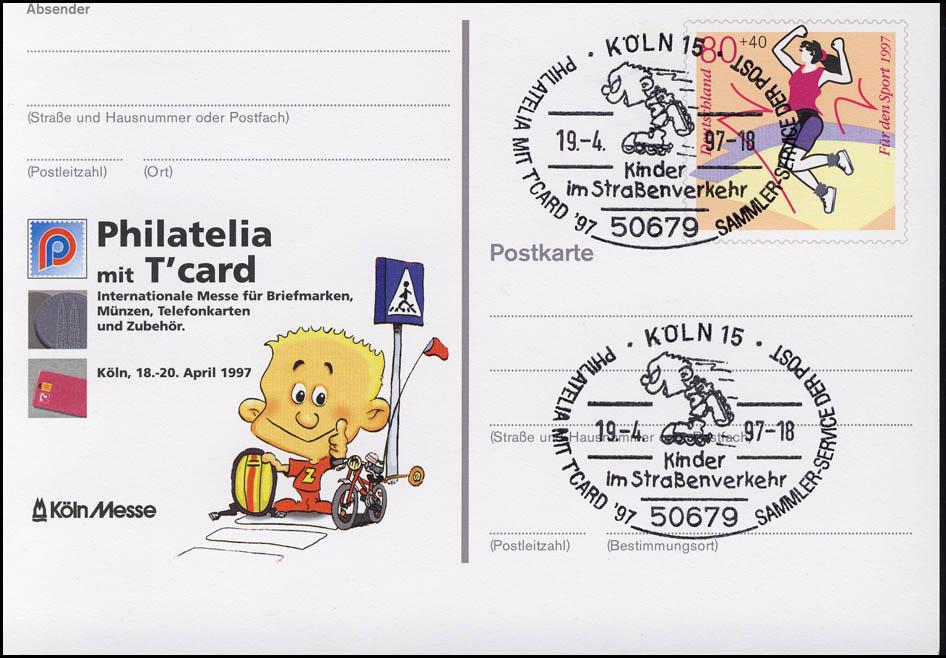 PSo 45 PHILATELIA 1997, SSt Köln Kinder im Straßenverkehr 19.4.97 0