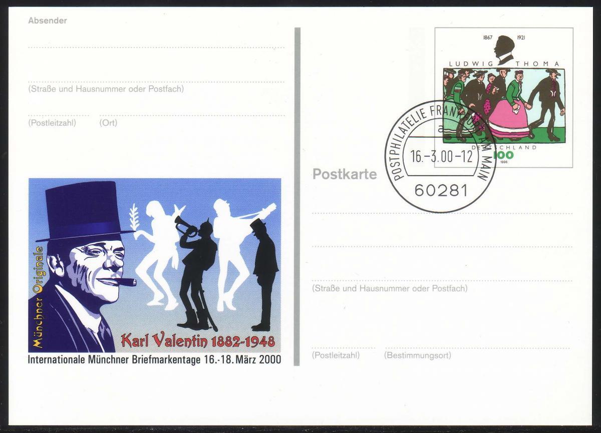 PSo 65 Messe MÜNCHEN / Karl Valentin, gestempelt VS-O Frankfurt 16.03.2000 0