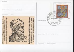 PSo 66 KOBLENZ & Johannes Gutenberg, gestempelt VS-O Frankfurt 16.03.2000