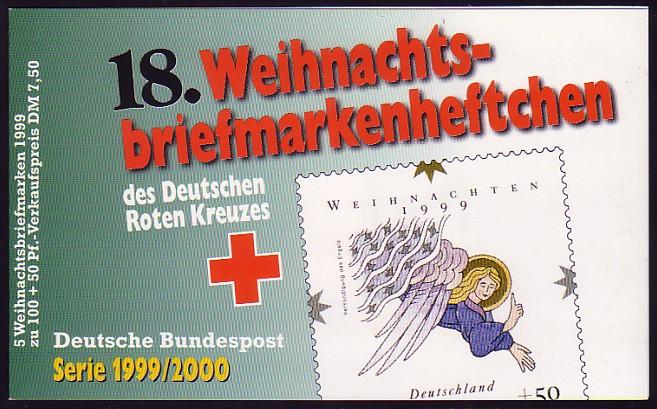 DRK/Weihnachten 1999/2000 Verkündigung des Engels 100 Pf, 5x2084 18.MH ** 0