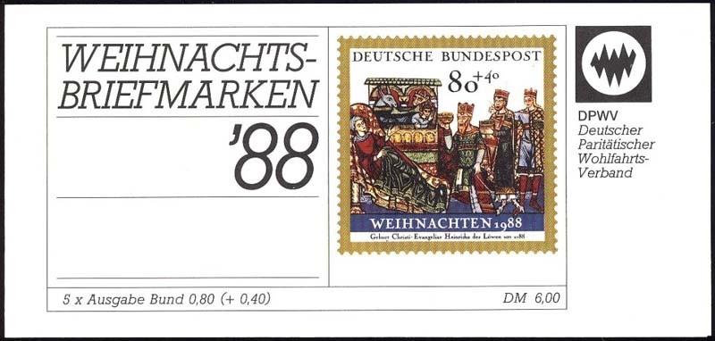 DPWV/Weihnachten 1988 Christi Geburt 80 Pf, 5x1396, ESSt Bonn 0