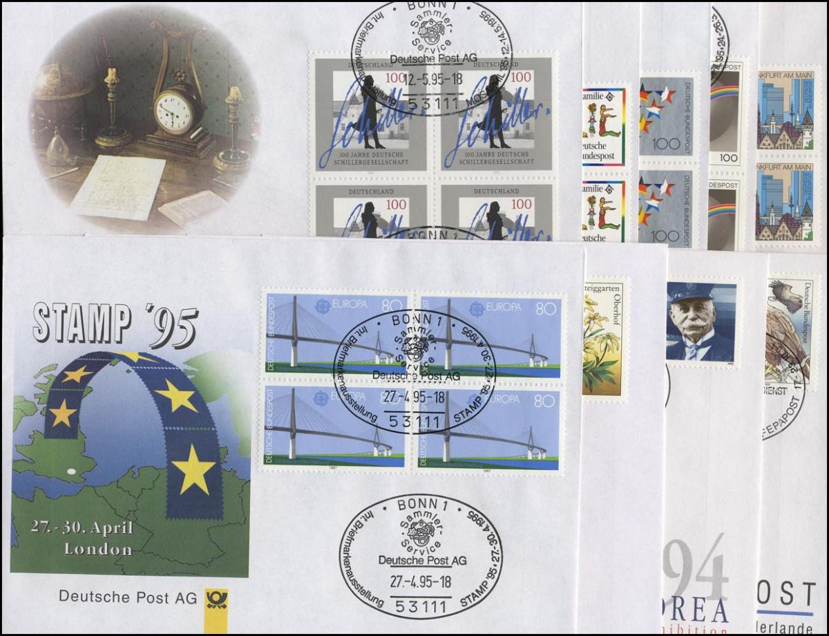 Ausstellungsbelege 1994/1995 Nr. 1 bis 9 komplett, original wie verausgabt! 0