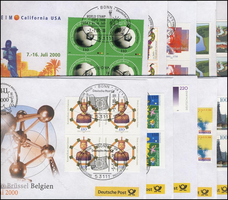 Ausstellungsbelege Jahrgang 2000 Nr. 47 bis 56 komplett mit 10 Belegen 0